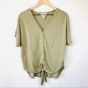 Lavender Field Green Button Down Tie front top